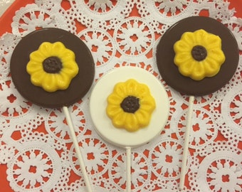 SUNFLOWER Chocolate Lollipops(12 qty) - Edible Flowers/Fall Harvest Party/Wedding/Mother's Day/Bridal Shower Favors/Party Favors/Tea Party