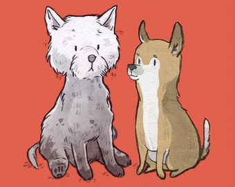 DOGS card : Dog Friends - chihuahua and westie