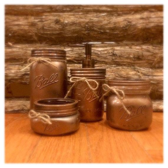 Mason Jar Bathroom Set Hammered Copper By Americanagloriana