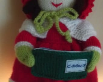 Hand knitted Victorian Style Carol Singer Doll (ALL proceeds to the Cystic Fibrosis Trust)