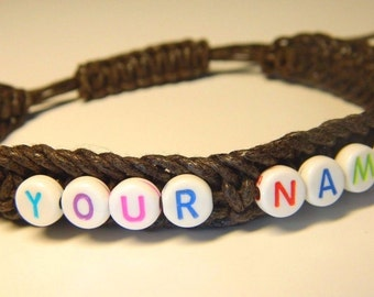 Name Bracelet, Girl Boy Bracelet, Letter beads bracelet, Personalized bracelet, Jewelry, Friendship Bracelet, Macrame