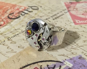 Sapphire and Vitrail Purple Watch Movement Ring, Silver Statement Ring, Steampunk Ring