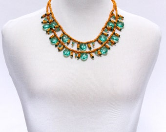 Statement Necklace, Mustard and Teal Necklace, Bib Necklace, Beaded Necklace, Gift for Her