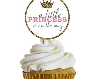 Instant Download Baby Shower Cupcake Toppers, Set of (6) Little Princess Baby Shower Decorations