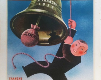 """Original Vintage Loterie Nationale Poster """"Tranche de Pâques 1939 """" by Derouet Lesacq"""