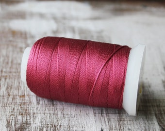 Mala Silk, Red Silk, Maroon Thread, Beading Cord, Silk Cord, Silk Thread, NO.7, 02S10
