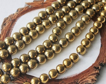 8mm Gold Round Hematite Gemstone Gold Gemstone Beads Jewelry Supply