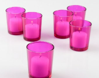 Set of 144 Pink or Clear Holders & Pink Candles, Glass Candle Holder,  Bulk Candle Holders Your Choice Pink candles w/ clear or pink holders