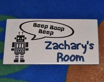 Robot Personalized Kids Room Sign, Baby's Room, Nursery. Baby Shower, Birthday Gift. 6x12 Hand Painted - Any Name - Options!!