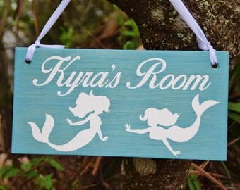 Mermaid Personalized Kids Room Sign, Baby's Room, Nursery. Baby Shower/ Birthday Gift. Hand Painted -Any Name- Custom Made Options Available