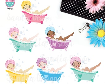 30 Bathtub Digital Clipart. BathTime Clipart. For personal and small.
