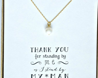 5 Pearl Necklaces Gold, Single Pearl Necklace in Gold, Pearl Bridesmaid Necklace, Bridesmaid Jewelry Gift, Bridal Party Gifts - NK5