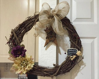 Branch frame country style wreath
