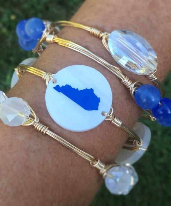 UK bangle bracelet, Kentucky bangle bracelet, Wire wrapped bangle, Ky Bangle, BBN, wire wrapped bracelet