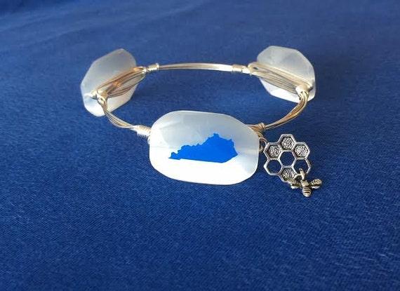 SALE, UK bangle bracelet, Kentucky bangle bracelet, Wire wrapped bangle, BBN