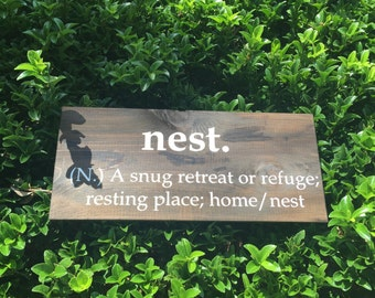 Nest abbreviation hand  painted wood sign.