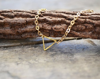Triangle Necklace, Tiny Triangle Necklace, Stardust Necklace, Tiny Necklace, Dainty Gold Necklace, Dainty Necklace, Triangle Charm.