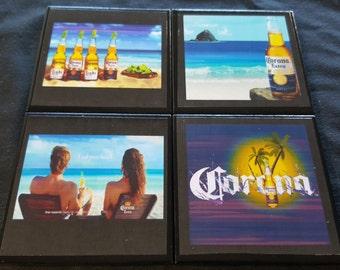 Corona Ceramic Tile Drink Coasters / Set of 4 / Corona Drink Coaster Set