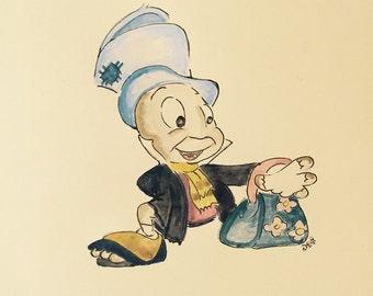 Jiminy cricket painting sketch disney