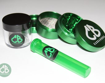 Cannabros Herb Grinder & Container Bundle Smell Proof Seal Tight