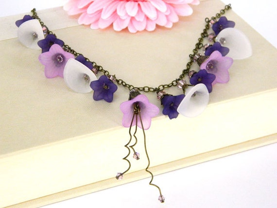 Purple Necklace, Short Necklace, Handmade Necklace, Flower Necklace, Statement Necklace, Lucite Necklace, Handcrafted Jewelry, Unique