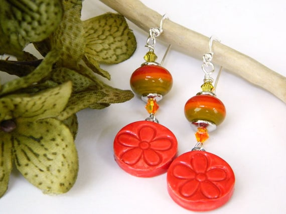 Orange Earrings, Lampwork Earrings, Ceramic Earrings, Handmade Earrings, Handcrafted Jewelry, Flower Earrings, Artisan Made, Fun Earrings