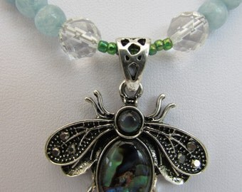 Shell bee and Aquamarine bee necklace