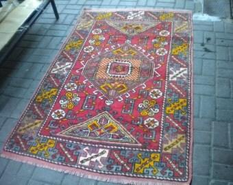 handmade vıntage rug carprt 183x120 cm 6.x4.ft