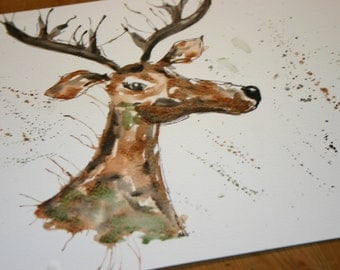 Deer original art, deer watercolor, stag watercolour, deer art, deer original, deer decor, stag decor