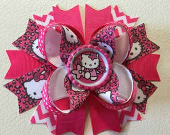Hello Kitty Hair Bows, Hello Kitty Boutique Hair Bow , Hello Kitty Stacked Hair Bows , Girls Hello Kitty Hair Bow, Hello Kitty Hair Clip
