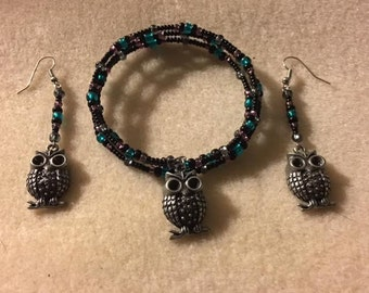 Owl bracelet and matching earrings