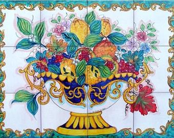 kitchen tiles with fruit design. Decorative Kitchen Backsplash Tiles  Hand Painted Tile Mural Fruit Bowl Painting Ceramic Bathroom painted tiles Etsy