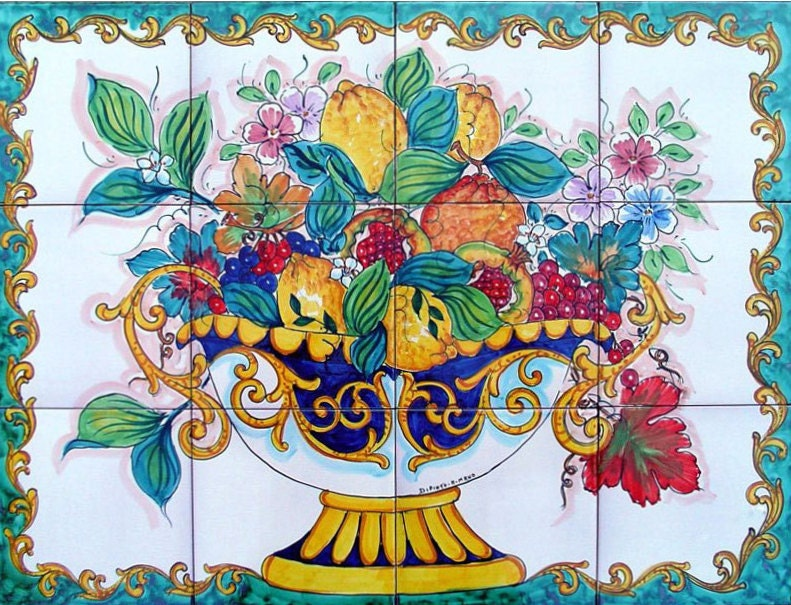decorative kitchen backsplash tiles hand painted tile mural fruit bowl painting ceramic bathroom - Decorative Tile