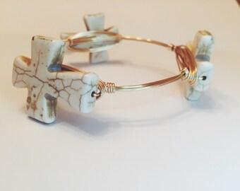 Bangle Bracelet, Cream Cross