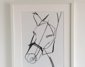 original abstract drawing of a Horses Head 4