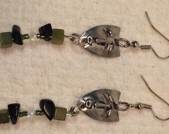 Handmade Genuine Green Jade Black Onyx Stone Joker Tragedy Tribal Mask Earrings tragedy earrings genuine jade earrings genuine onyx earrings