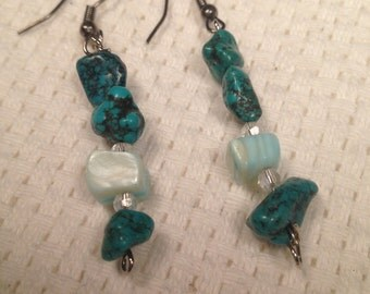 Handmade Genuine Turquoise Natural Stone Quartz Crystal Silver Boho Dangle Earrings Jewelry