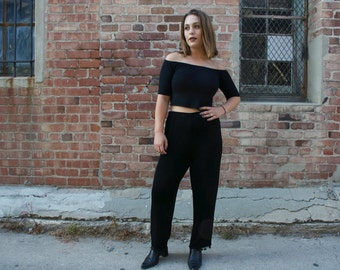 black straight leg cigarette pants with beaded hem