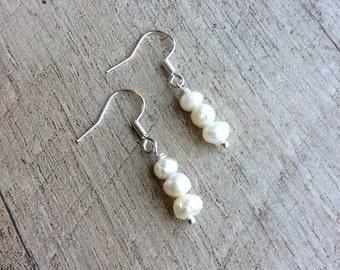 SALE Freshwater Pearl Dangle Earrings, Dangle Earrings, Pearl Earrings, Pearl Jewelry, Rustic Modern Jewelry, Free Shipping U.S.
