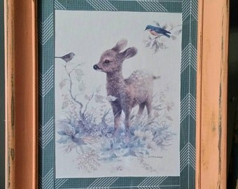 Framed Baby Deer Picture/ Redesigned 8x10/Vintage Nursery Decor/Kid's Room Decor/Bambi/Wildlife Picture/Boho/Shabby Chic/Baby Shower Decor