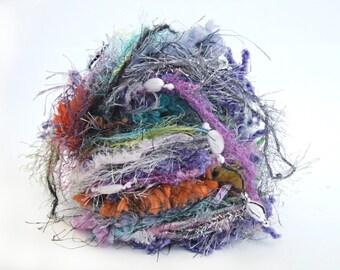 Eyelash blend art yarn bindle, mixed media set, fiber sample, effect textural elements for knitting, weaving, scrap booking, gift wrapping