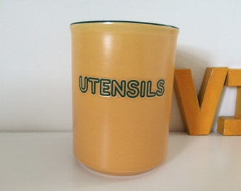 Vintage Hornsea Calypso utensils pot,jar, yellow 1980s