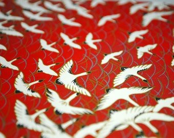 Handmade origami paper - Cranes on red