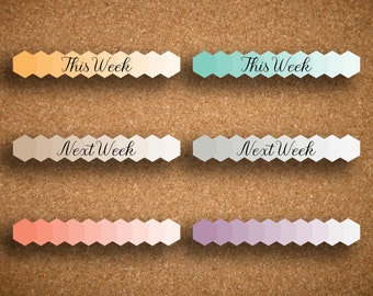 This Week, Next Week, Blank SMALL Ombre Hexagon Header Planner Stickers for Inkwell Press Planner IWP-HOH1