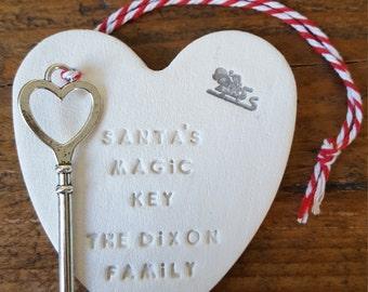 Santa's Magic Key ~ Personalized Christmas Ornament ~ Christmas Decor ~ Clay Ornament ~ Santa's Family Key