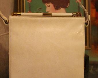 Super Cute 60's Retro Nadelle Off White Leather Handbag, Circa 1960's, With Gold Hardware.