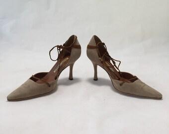 manolo blahnik suede heels SZ36.5