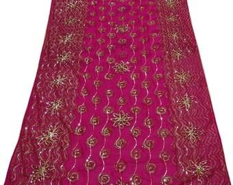 Indian New Bridal Sari Magenta Fancy Wedding Dress Designer Saree Embroidered Party Wear Georgette Blend Sari 5 Yard  SI2339