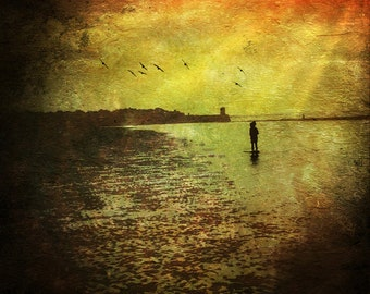 To The Beach | 30cm x 30cm Fine Art Photographic Print, Dream, Surreal, Birds, Painterly, Seaside, Sunset, Red, Yellow, Golden, Childhood