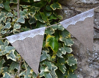 Ivory Lace and Burlap Bunting